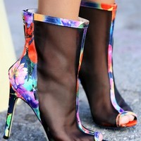 Wild Rose Giselle-01 Floral Mesh Booties | MakeMeChic.com