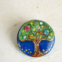 Tree Of Life Brooch with Swarovski Rhinestones, Unique Hand Painted pin, Wearable Art.