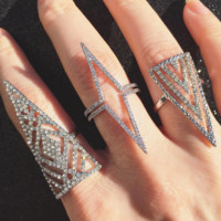 Deep Pointed Chevron Crystal Ring