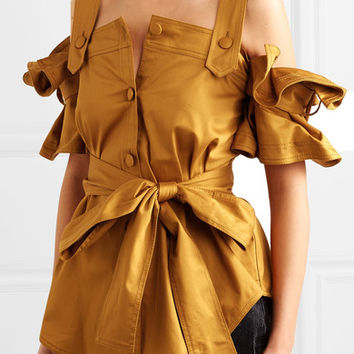 Silvia Tcherassi - Giuliani cold-shoulder belted ruffled cotton-blend top