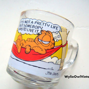 Vintage Garfield McDonalds Glass Mug 1978