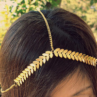 Gold Chain Headpiece, Chain Headband, Bohemian, Vintage