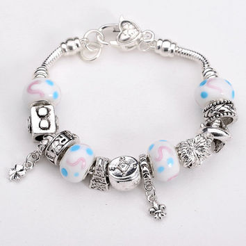 Pink, Blue and White Pandora Bracelet-.925 Sterling Silver Bracelet- Fashion Jewelry- Fashion Bracelet-European Charm Beads-Glass Charms