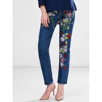 Floral Embroidered Ankle Jeans - Blue L
