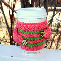 Knitted cup cozy. Coffee cozy. Cup sweater. Mother's day gift. Travel mug cozy. Strawberry ice green stripes cup hug. Starbucks cup sleeve