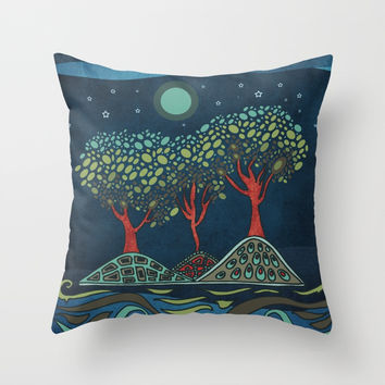 Retro trees Throw Pillow by vivianagonzlez
