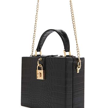 Faux Croc Box Crossbody