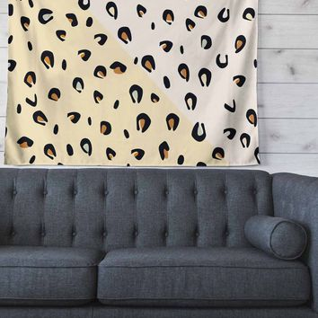 """AFE Images """"AFE Animal Print"""" Yellow Gold Animal Print Abstract Digital Illustration Wall Tapestry"""
