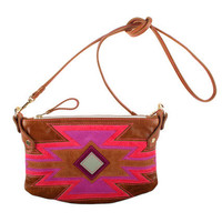 Aztec Cha Ching bag in tan leather with aztec detailing in bright pinks and tan