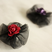 Set Of Two Brooches with Roses