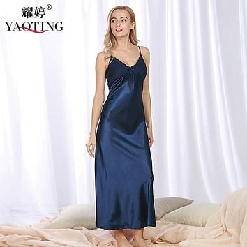 sexy faux silk women nightgown lace sleepwear long satin sleepshirt sexy sleep dress sleeveless home clothes Princess tracksuit