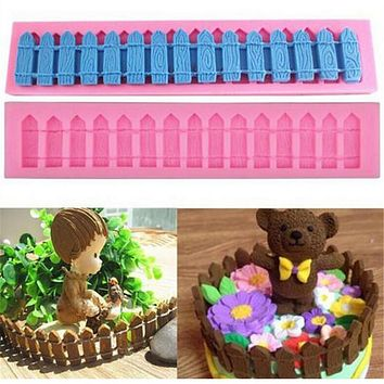 Fence Silicone Fondant Cake Molds Chocolate Soap Mould Kitchen Baking Clay Mould Sugarcraft Decoration Tool Bakeware