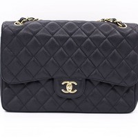 Authentic Chanel Large Classic A58600 JUMBO Black Caviar Shoulder Bag Ghw
