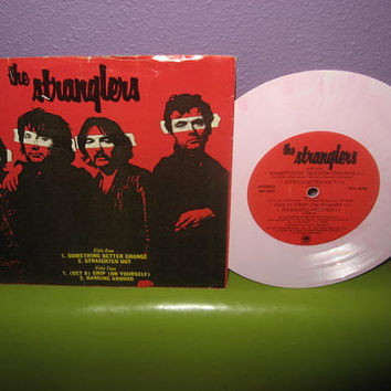 "Rare Vinyl Record The Stranglers - Four Track EP 7"" 45RPM 1977 Pink Swirl Wax Punk Rock Icons"