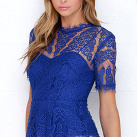 Vine Leaves Royal Blue Lace Top