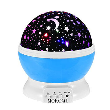 Night Lighting Lamp [ 4 LED Beads, 3 Model Light, 4.9 FT (1.5 M) USB Cord ] Romantic Rotating Cosmos Star Sky Moon Projector , Rotation Night Projection for...