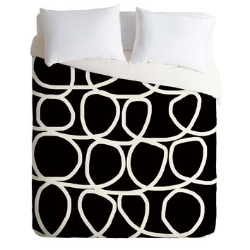 Natalie Baca Loop Di Doo In Black Duvet Cover