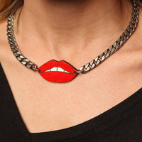 Leather Atelier Red Lips Necklace on Garmentory