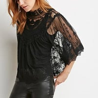 Embroidered-Mesh Poncho Top