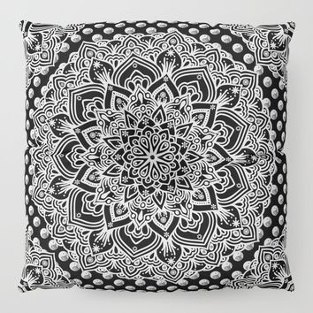 Black & White Yin Yang Mandala Floor Pillow by inspiredimages