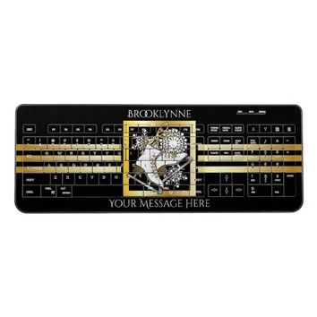 Ice Skating Black Gold Print Personalized Modern Wireless Keyboard
