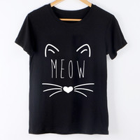 New Fashion Women T-Shirt Harajuku Summer Tops Cute Cat Pattern Print Kawaii Tee Shirt Femme Camisetas Feminina Women Tees