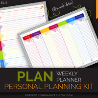 Weekly Planner, To Do List, Weekly Schedule, Weekly Calendar // Colorful, Printable PDF Planner Organizer DIY // Household PDF Printables