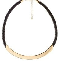 Black Gold & Faux Leather Choker Necklace by Charlotte Russe