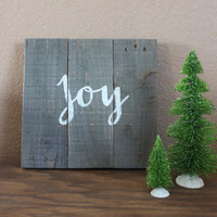 Joy Christmas Gray Stained Sign