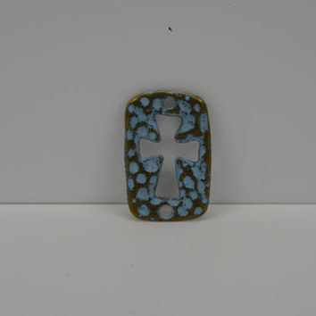 Cut Out Cross Connector, 2 Hole Cross Connector, Hammered Cross Connector, Verdigris Cross Connector, Set of 6 Cross Connectors