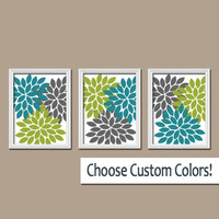 Wall Art Canvas Teal Charcoal Gray Green Artwork Colors Flower Burst Dahlia  Set of 3 Trio Prints Decor  Bedroom   Bathroom Three
