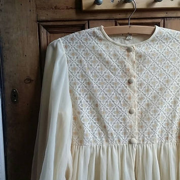 Vintage 70s robe sheer lingerie bohemian nightwear dressing gown floaty maxi boho clothing folk hippie cream neutral Dolly Topsy Etsy UK