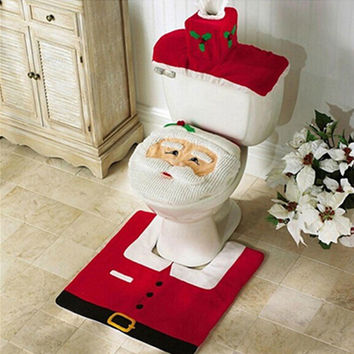 New For New Happy Santa Toilet Seat Cover Rug Christmas Xmas Gift Decor Bathroom Set LH8