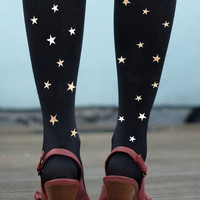 Star Tights - Silver Printed Stars