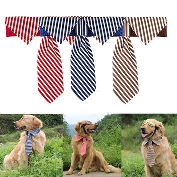 1Pc Adjustable Stripes Large Dog Neckties for Puppy Big Dogs Pet Grooming Bow Ties Necktie Dog Accessories