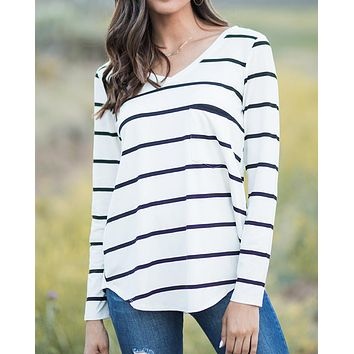 Grace & Lace Long Sleeve Perfect Pocket Tee (Black & White Stripe)