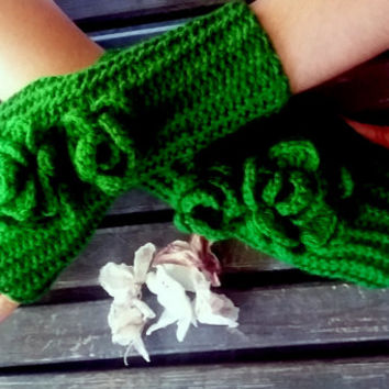 Pakistan Green Gloves, Fingerless Gloves, Winter Gloves, Women Gloves, Gloves Crochet, Handmade, Warm Gloves, Flowers Gloves, Christmas Gift