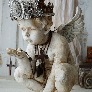 Cherub angel statue ornate handmade crown French Santos inspired distressed angelic figure shabby cottage chic home decor anita spero design