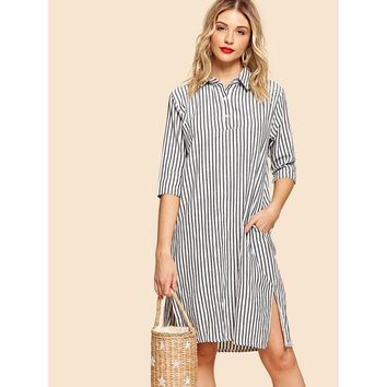 Black And White Split Side Hidden Pocket Stripe Shirt Dress