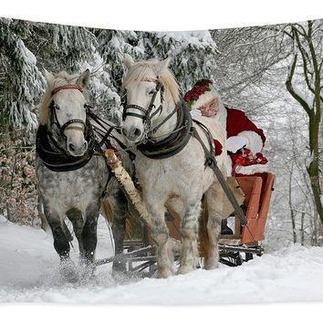 Santa Sleigh With Horses - Tapestry