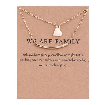 Double Heart Card Alloy Clavicle Pendant Necklace 171208