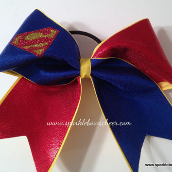 Super Steel Super Hero Cheer Bow Hair Bow Cheerleading
