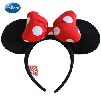 Genuine Disney Minnie Mouse Ears Headdress Mickey Head Minnie Ears Girls Hair Bands Princess Head Hoop Plush Toys Bag Keychain