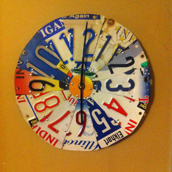 Recycled License plate clock.