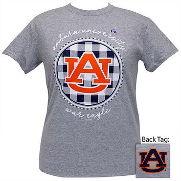 Alabama Auburn Tigers Plaid Logo Sports Grey T-Shirt