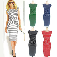 Scoop Bodycon Sleeveless Striped Fashion Pencil Dress