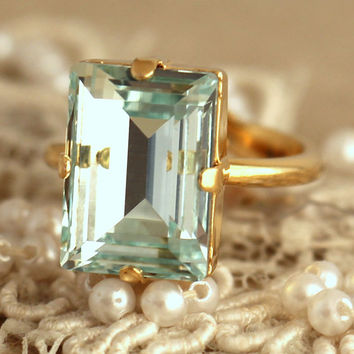 Aquamarine Crystal Ring, Emerald Cut Swarovski Ring, Rhinestone Square Gold Ring, Gift for woman, Wedding jewelry, Trending jewelry.