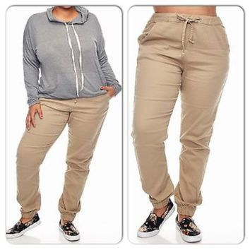 Plus Size Woman Twill Khaki Joggers Pants Size 3XL