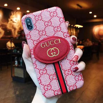 GUCCI Fashion Women Men Leather Classic Print Card Mobile Phone Cover Case For iphone 6 6s 6plus 6s-plus 7 7plus 8 8plus X XsMax XR Pink
