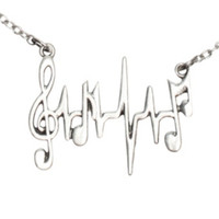 Heartbeat Music Note Necklace